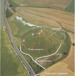 Aerial photo of Silbury Hill labelled with investigation locations