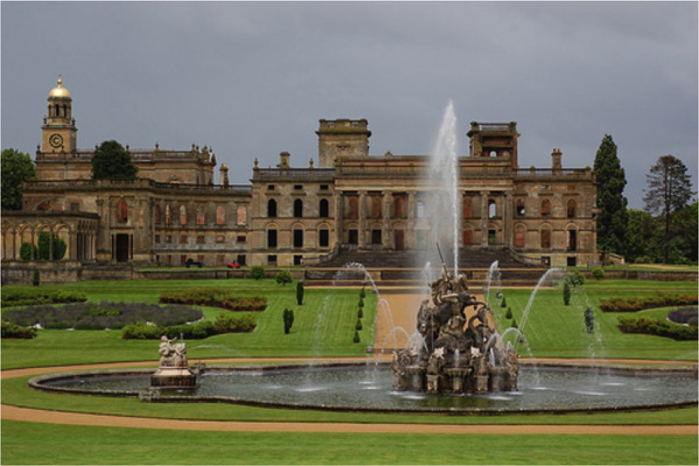 Witley Court from the south showing the gardens as restored to bring back W. A. Nesfield's Italianate scheme of 1854-1860